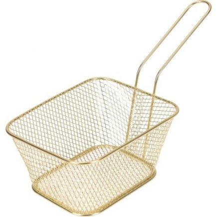 Coș pentru servirea mâncării Gastro 14x11x7 cm, auriu