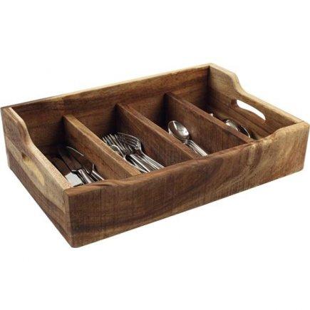 Suport tacâmuri, din lemn 48x13,4x13 cm, natur