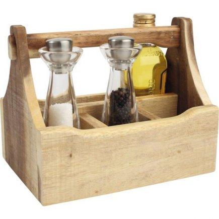 Suport pentru tacâmuri/condimente, din lemn, cu mâner 29x18,5x22 cm, natur