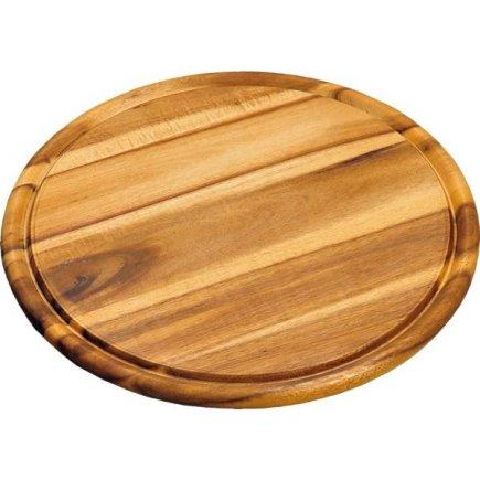 Fund rotund cu caneluri Kesper 30 cm, din lemn de salcâm
