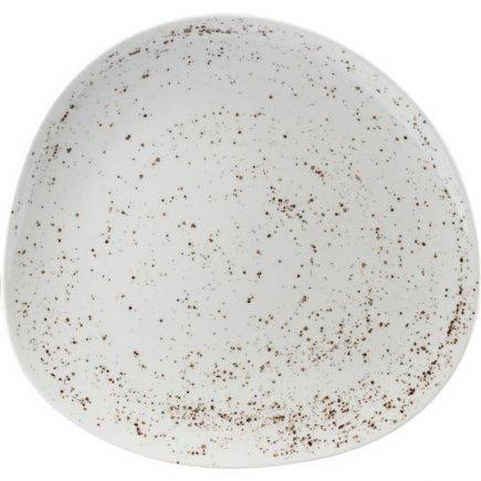 Farfurie plată asimetrică Schönwald Pottery 22 cm, albă