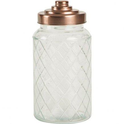 Cutie sticlă 1,2 l, capac auriu