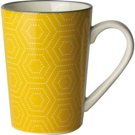 Cană Gusta Hexagon 330 ml, galbenă
