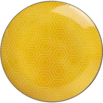 Farfurie desert Gusta Hexagon 20 cm, galbenă