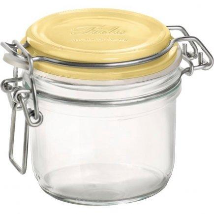 Borcan conserve Bormioli Rocco Fido 250 ml, închidere cu arc brevetată, capac galben