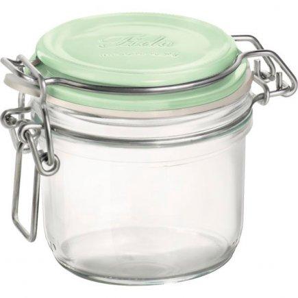 Borcan conserve Bormioli Rocco Fido 250 ml, închidere cu arc brevetată, capac verde